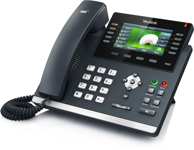 Photograph of Yealink T46S IP Phone with power supply